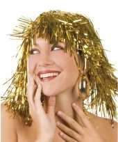 Originele gouden folie pruik carnavalskleding