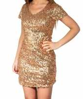 Originele gouden glitter pailletten disco carnavalskleding dames