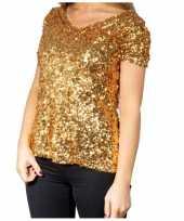 Originele gouden glitter pailletten disco shirt dames carnavalskleding