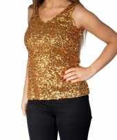 Originele gouden glitter pailletten disco topje mouwloos shirt dames carnavalskleding