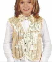 Originele gouden verkleed gilet pailletten kinderen carnavalskleding