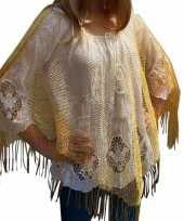 Originele gouden visnet poncho omslagdoek stola dames carnavalskleding