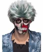 Originele grijze zombiepruik heren carnavalskleding