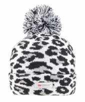 Originele grijze zwarte panterprint luipaardprint muts dames carnavalskleding