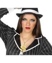 Originele grote gouden dollar ketting verkleed accessoire volwassenen carnavalskleding