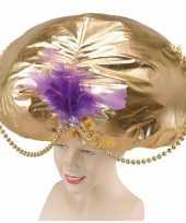 Originele grote gouden tulband hoed carnavalskleding