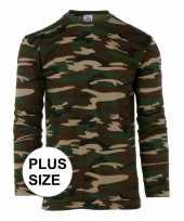 Originele grote maat camouflage shirt heren lange mouw carnavalskleding