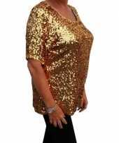 Originele grote maten gouden glitter pailletten disco shirt dames xl carnavalskleding