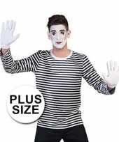 Originele grote maten mime shirt heren carnavalskleding
