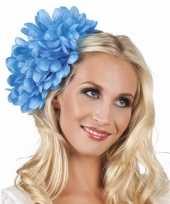Originele haarbloem blauwe dahlia clip carnavalskleding
