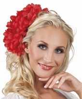 Originele haarbloem rode dahlia clip carnavalskleding