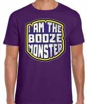 Originele halloween booze monster verkleed t-shirt paars heren carnavalskleding