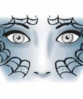 Originele halloween gezicht stickers spinnenweb vel carnavalskleding