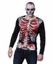 Originele halloween heren shirt bloederige zombie karkas carnavalskleding