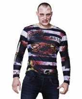 Originele halloween heren shirt zombie gevangene opdruk carnavalskleding
