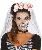 Originele halloween horror tiara bloederige rozen sluier carnavalskleding