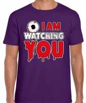Originele halloween i am watching you verkleed t shirt paars heren carnavalskleding