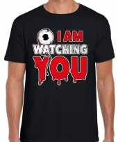 Originele halloween i am watching you verkleed t shirt zwart heren carnavalskleding