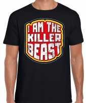 Originele halloween killer beast verkleed t-shirt zwart heren carnavalskleding