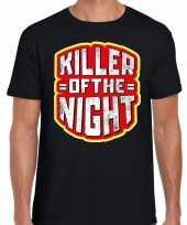 Originele halloween killer of the night verkleed t-shirt zwart heren carnavalskleding