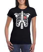 Originele halloween skelet t shirt zwart dames carnavalskleding