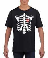 Originele halloween skelet t shirt zwart kinderen carnavalskleding