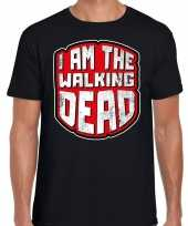 Originele halloween walking dead verkleed t shirt zwart heren carnavalskleding