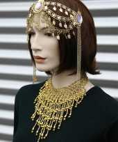 Originele halsketting goud steentjes carnavalskleding