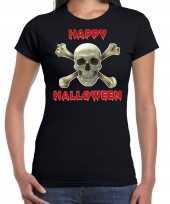 Originele happy halloween horror schedel verkleed t shirt zwart dames carnavalskleding