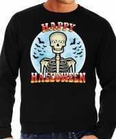 Originele happy halloween skelet verkleed sweater zwart heren carnavalskleding