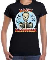 Originele happy halloween skelet verkleed t shirt zwart dames carnavalskleding