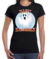 Originele happy halloween spook verkleed t shirt zwart dames carnavalskleding