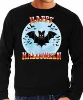 Originele happy halloween vleermuis verkleed sweater zwart heren carnavalskleding