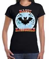 Originele happy halloween vleermuis verkleed t shirt zwart dames carnavalskleding