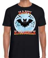 Originele happy halloween vleermuis verkleed t shirt zwart heren carnavalskleding