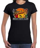 Originele hawaii feest t shirt shirt aloha beach boys club zwart dames carnavalskleding