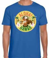 Originele hawaii feest t shirt shirt aloha hawaii blauw heren carnavalskleding