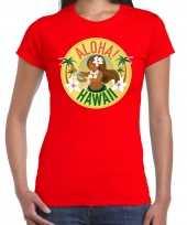 Originele hawaii feest t shirt shirt aloha hawaii rood dames carnavalskleding