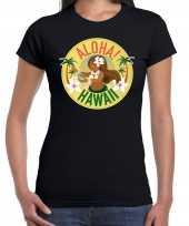 Originele hawaii feest t shirt shirt aloha hawaii zwart dames carnavalskleding