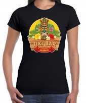Originele hawaii feest t shirt shirt tiki bar aloha zwart dames carnavalskleding