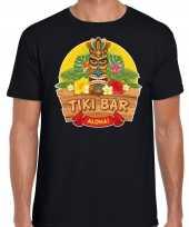 Originele hawaii feest t shirt shirt tiki bar aloha zwart heren carnavalskleding