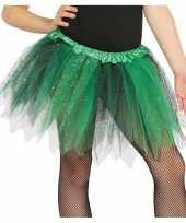 Originele heksen verkleed petticoat tutu groen zwart glitters meisjes carnavalskleding
