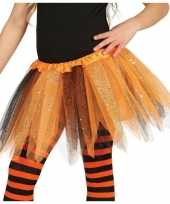 Originele heksen verkleed petticoat tutu oranje zwart glitters meisje carnavalskleding