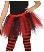 Originele heksen verkleed petticoat tutu zwart rood glitters meisjes carnavalskleding