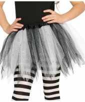 Originele heksen verkleed petticoat tutu zwart wit glitters meisjes carnavalskleding