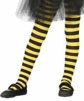 Originele heksen verkleedaccessoires panty maillot zwart geel meisjes carnavalskleding