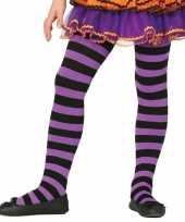 Originele heksen verkleedaccessoires panty maillot zwart paars meisje carnavalskleding