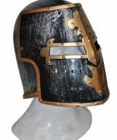 Originele helm middeleeuws zwart goud carnavalskleding