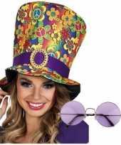 Originele hippie accessoires verkleedset hoed bril carnavalskleding