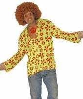 Originele hippie verkleed overhemd groen oranje heren carnavalskleding